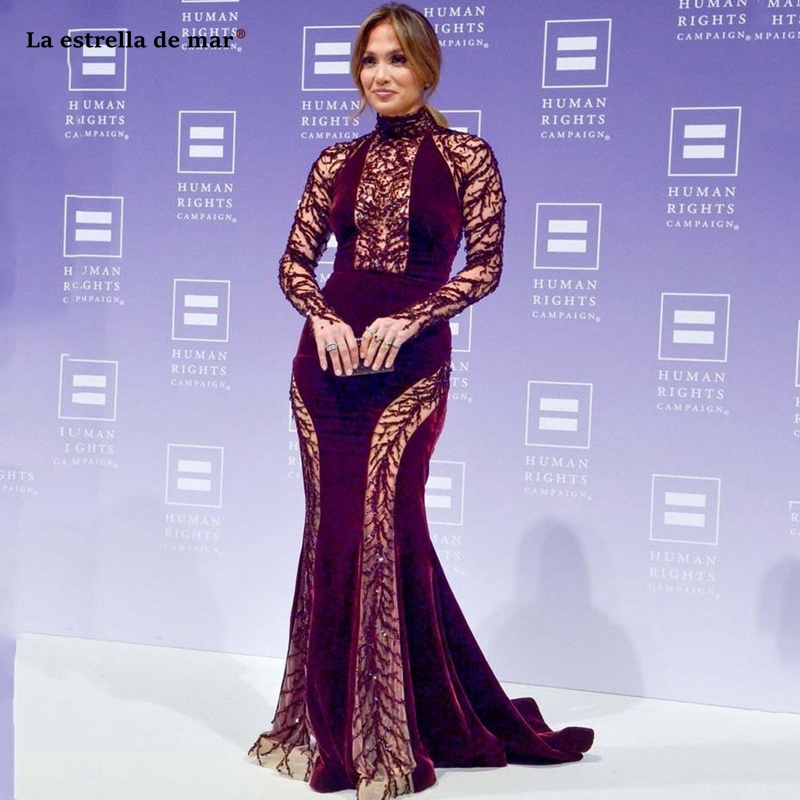 Celebrity dresses high quality high neck lace crystal velvet long sleeve burgundy sexy mermaid JenniferLopez red carpet dress