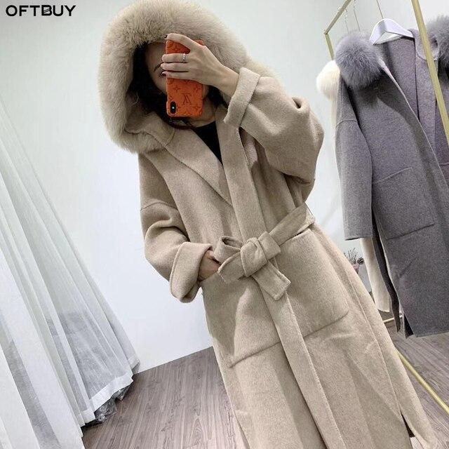 OFTBUY 2020 אמיתי פרווה מעיל חורף מעיל נשים טבעי פרוות שועל צווארון הוד קשמיר צמר תערובות x ארוך הלבשה עליונה streetwear קוריאה