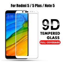 Vidro temperado de cobertura completa 9d, para xiaomi redmi note 5 versão global, protetor de tela para redmi note 5 pro note5 película protetora