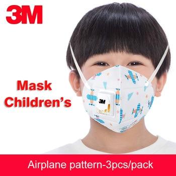 Máscara respiratoria antipolvo Anti-niebla 3 uds 3M para niños PM2.5 a prueba de polvo patrón de dibujos animados mascarillas de respiración de seguridad para niños