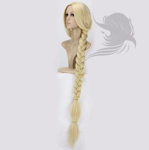 "Image 3 - Peluca de Cosplay de princesa enredada de Anime, Peluca de pelo sintético de Rapunzel superlarga de 120cm y 47"""