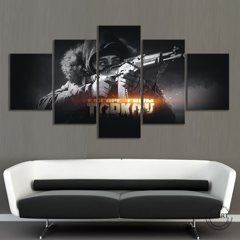 5pcs Black White Wall Painting HD Solider with Guns Wall Picture Escape From Tarkov Game Poster Canvas Paintings Wall Art Decor 1