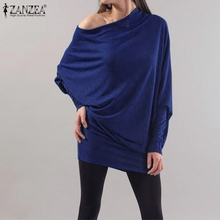 Off-Shoulder Shirt ZANZEA Plus-Size Tunic Sleeve Women's Blouse Solid-Tops Blusas Sexy