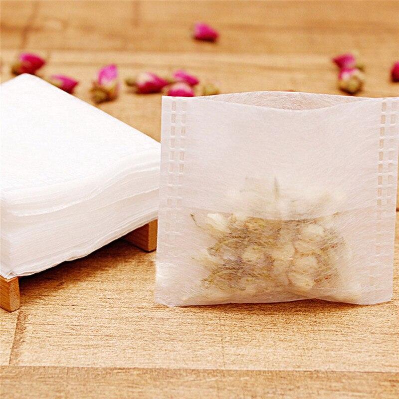 Portable 100Pcs/lot Empty Tea Bags Corn Fiber Fold Close Heat Seal Filter Paper Tea Infuser