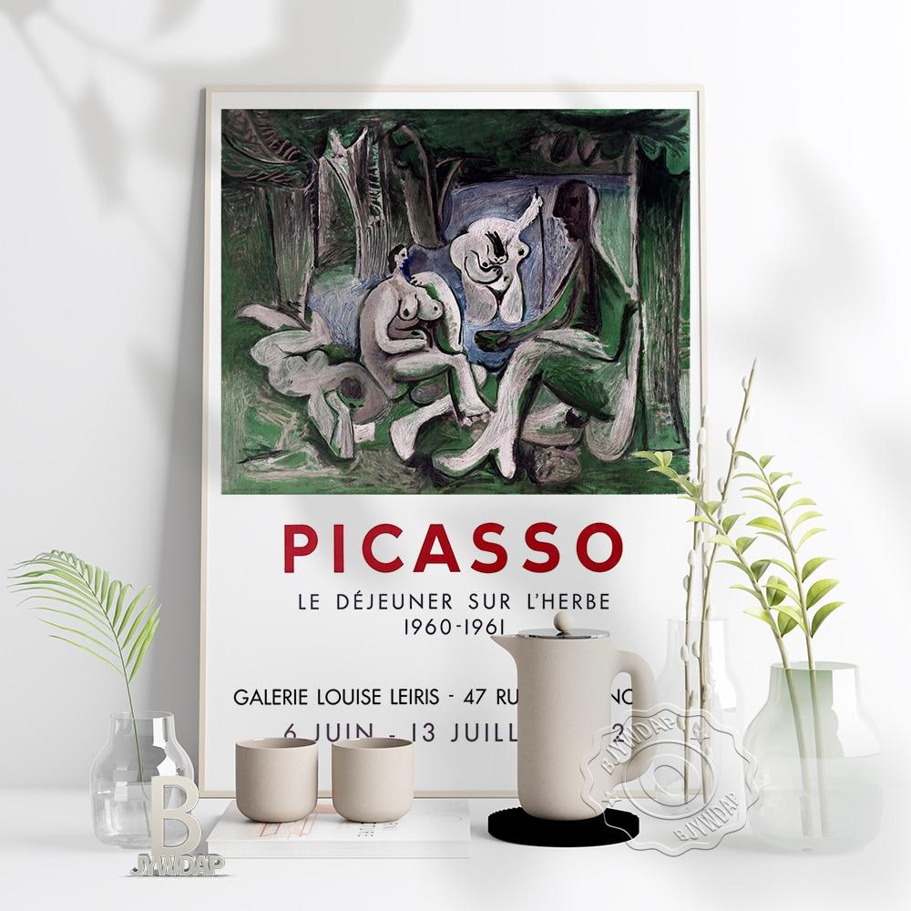 Affiche du musée de lexposition Picasso, peinture Sur toile de Picasso Le déjeuner Sur LHerbe, décoration artistique Vintage abstraite de la maison