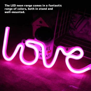 Znak neonowy LED miłość dekoracja USB zasilanie bateryjne ściana światło Home Room Bar Neon lampa stołowa festiwal lampka nocna prezenty tanie i dobre opinie everso CN (pochodzenie) Do sypialni WHITE Neon Light Pokrętło Żarówki LED ART DECO 0-5 w Z tworzywa sztucznego Lampy stołowe
