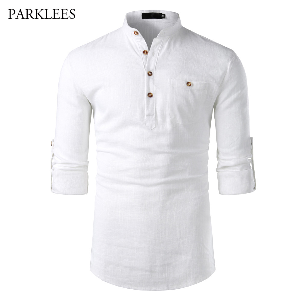 White Cotton Linen Shirt Men Stand Collar Long Sleeve Mens Dress Shirts With Pocket Casual Business Work Chemise Homme Tops