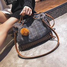 England Style Women Boston Bag Female Handbags Large Capacity Houndstooth Wool Shoulder Bags for Ladies Big Size Cross Body Bag