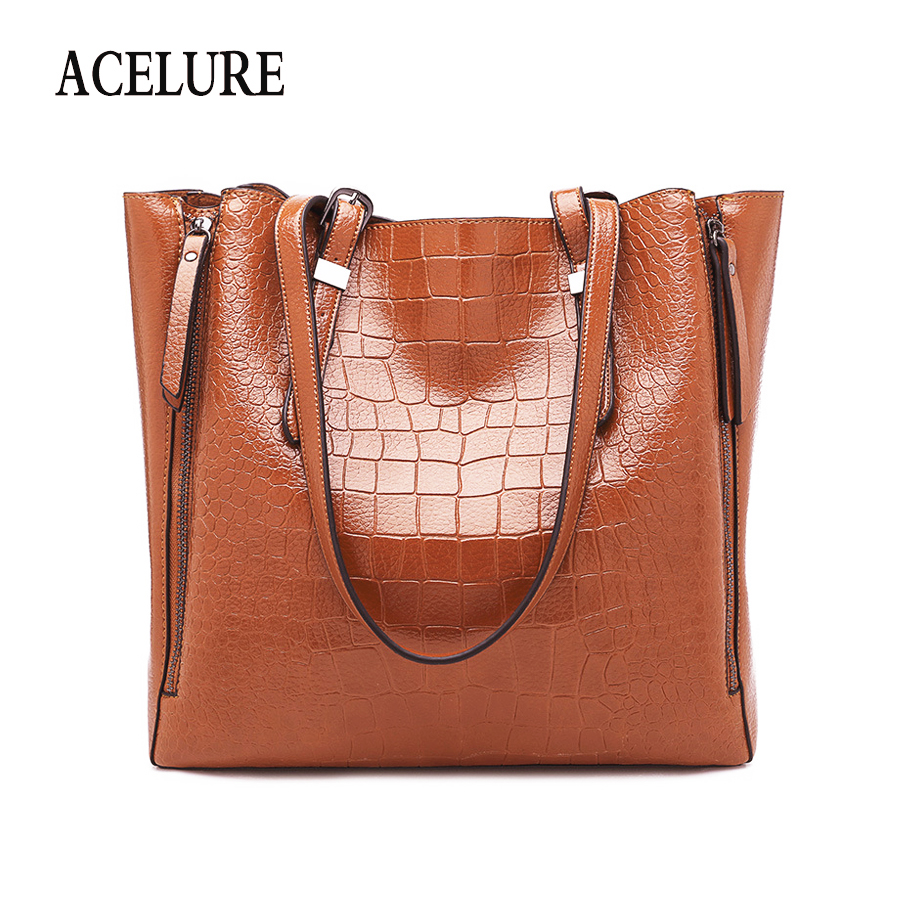 ACELURE Women Alligator Pu Leather Crossbody Bags Solid Color Female Lager Casual Totes Fashion Ladies Daily Shoulder Bags