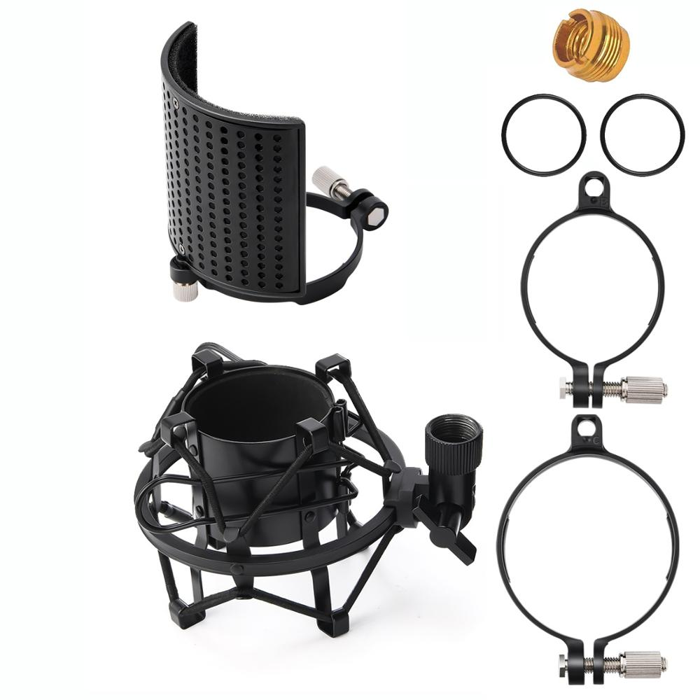 Moukey Metal Microphone Shock Mount 46-54mm With Pop Filter 46-70mm Mic Anti-Vibration Suspension Shock Mount Holder Clip New