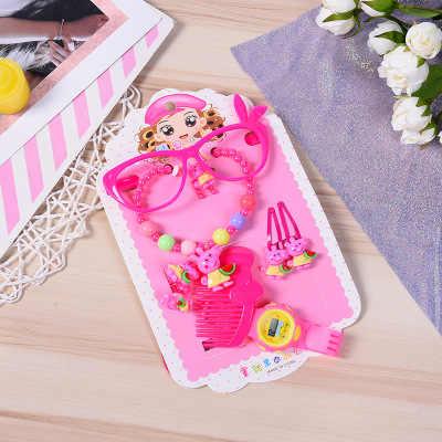 Anak-anak Gemengde Sieraden Set Meisje Roze Dier Roze Kat Parels Ketting Bayi Ban Lengan Kt Cincin Oorbellen Kinderen Pesta