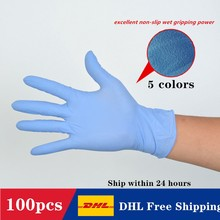 DHL Shipping 100 pcs High Elasticity PVC Disposable Waterproof  Gloves SGS Food Grade Work Safety 5 Colors