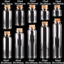 24pcs 10ml 15ml 20ml 25ml 30ml Cute Clear Glass Bottles with Cork Stopper Empty Spice Bottles Jars DIY Crafts Vials
