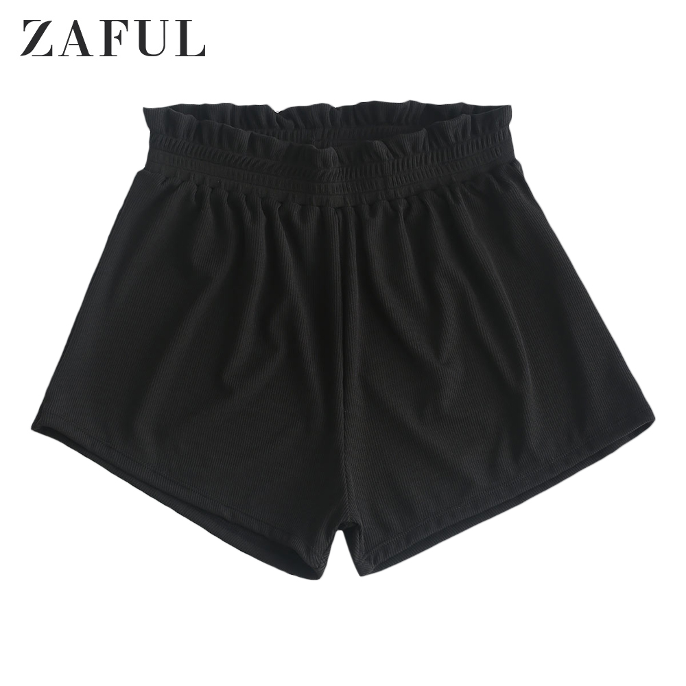 ZAFUL Women Swim Shorts Frilled Ribbed Boyshort Bikini Bottom Bikini Shorts Black Bikini Bottoms High Waisted Swimming Shorts