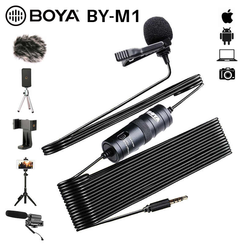 BOYA BY-M1 3.5mm Audio vidéo enregistrement Lavalier pince à cravate Microphone pour iPhone Android Mac Vlog micro pour DSLR caméscope enregistreur