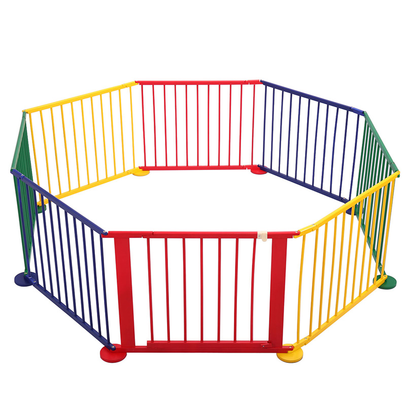 Baby Colorful Playpen Game Guard Wooden 8 Panel Kids Wood Play Yard Home Baby Game Fence Crawl Guardrail Safe Hurdles BB3183