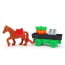 Blocos de construção conjunto agricultor transporte tamanho grande diy blocos de construção acessórios tijolos crianças brinquedos para crianças presentes
