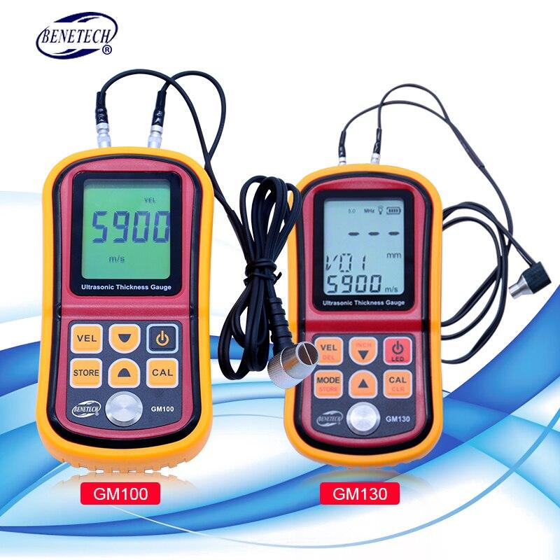 BENETECH Digital Ultrasonic Thickness Gauge tester GM100/GM130 handheld steel aluminium glass Sound Velocity Meter title=