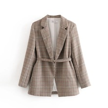 Casual Ladies Small Suit 2020 New Loose Ladies Blazer Stylish retro check mid-length jacket feminine Temperament coat