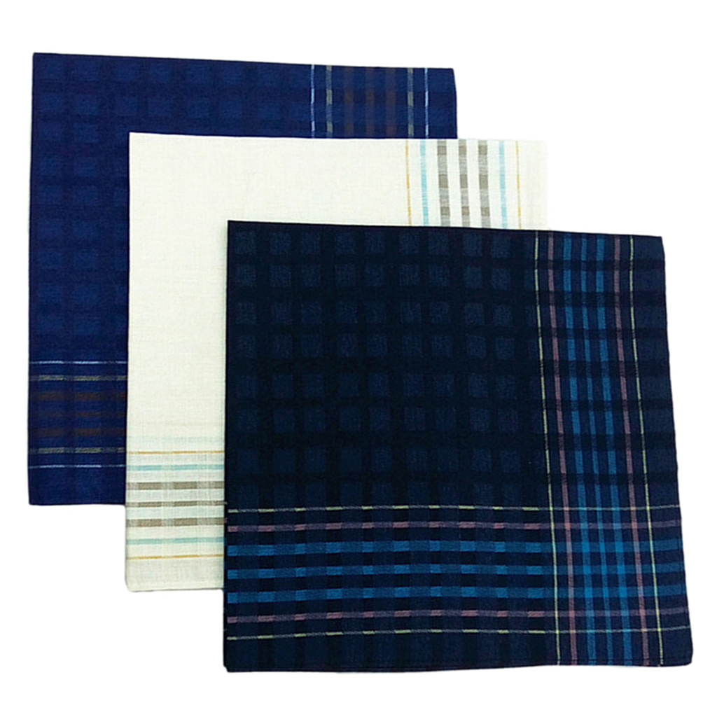 3 Pack Check Pattern Handkerchiefs For Men Party Pocket Square Gift Set 16x16