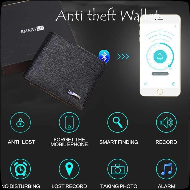 New Men's Anti-lost Wallet Leather Smart Wallets Tracker Bluetooth Connection APP Anti-lost Anti-theft Men Purse Bts