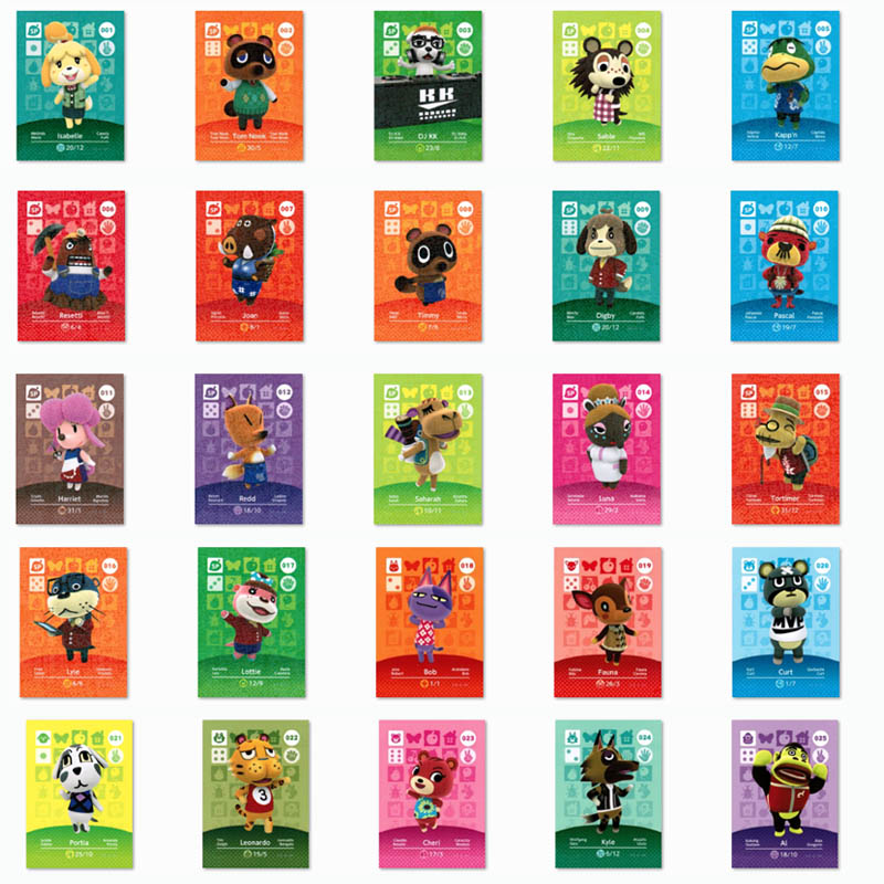 (001 To 025) Animal Crossing Card NTAG215 Printed NFC Amiibo Compatible Pick From The List
