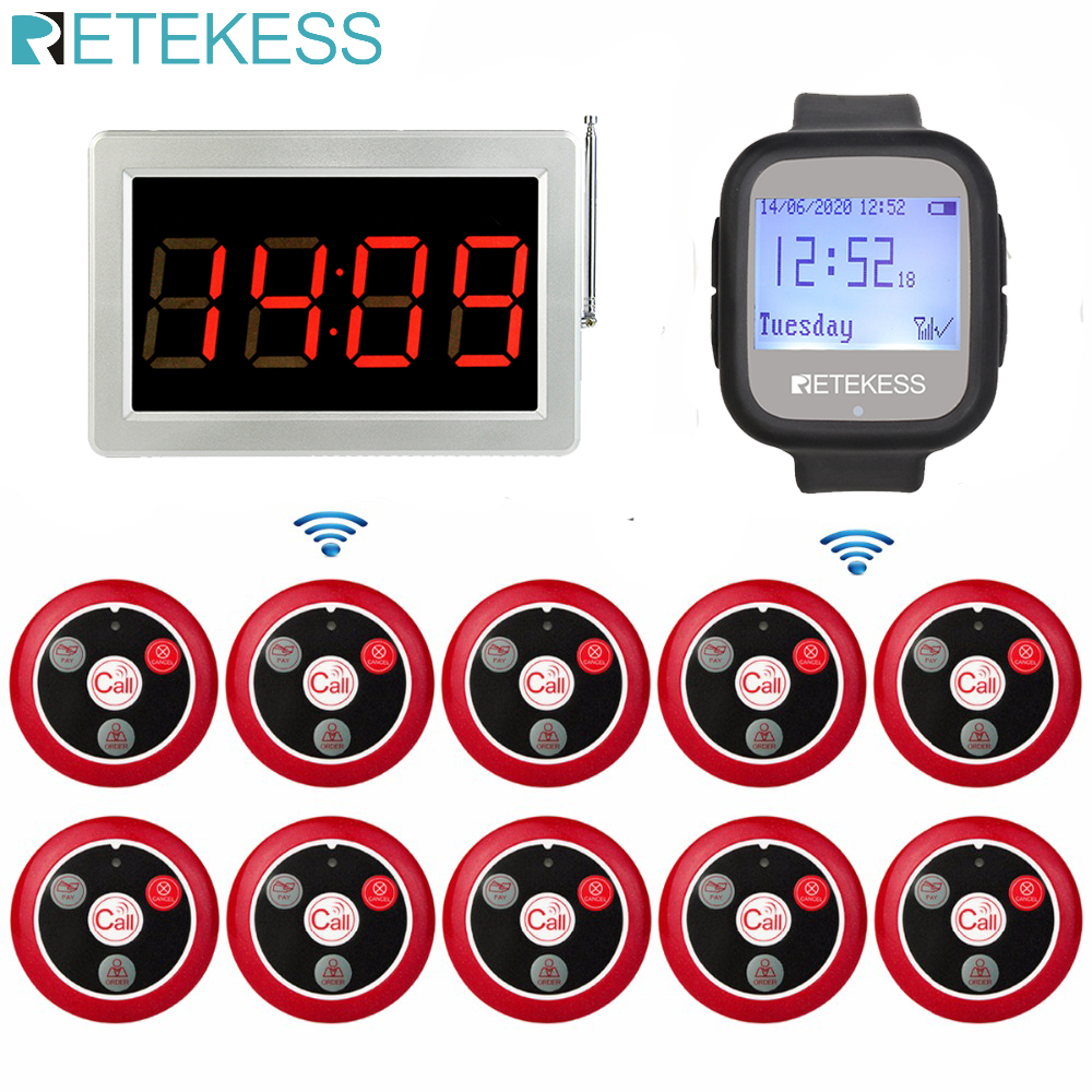 Retekess Pager Wireless Calling Voice Reporting Receiver Host+Watch Receiver+10 T117 Call Transmitter Buttons cafe factory