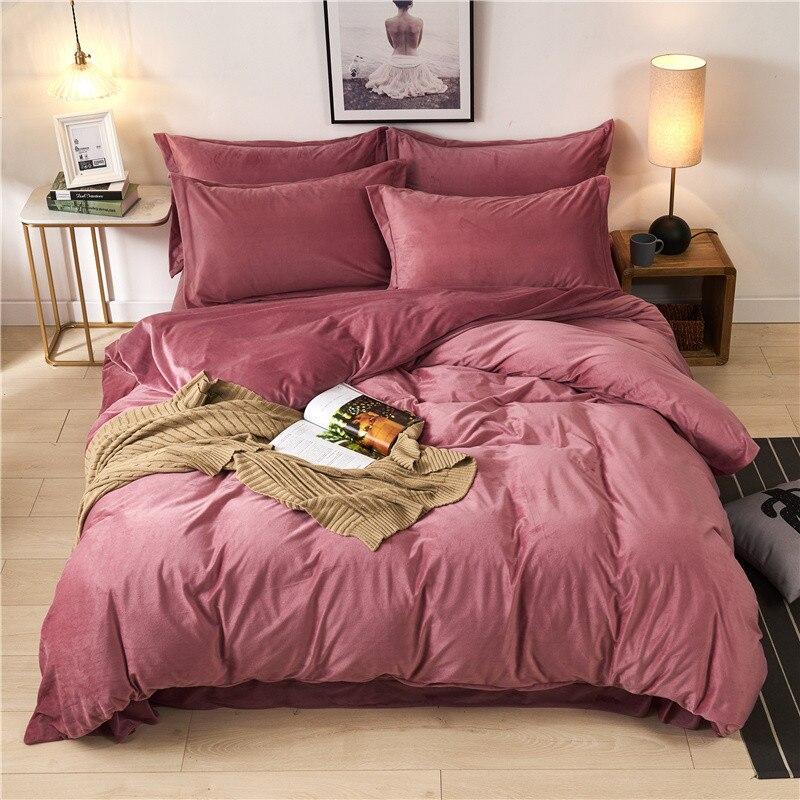 1-4 Uds ropa de cama de invierno cálido conjunto de edredón de terciopelo de cristal sólido funda de edredón de franela sábana de lino funda de almohada café Azul Rojo textil para el hogar