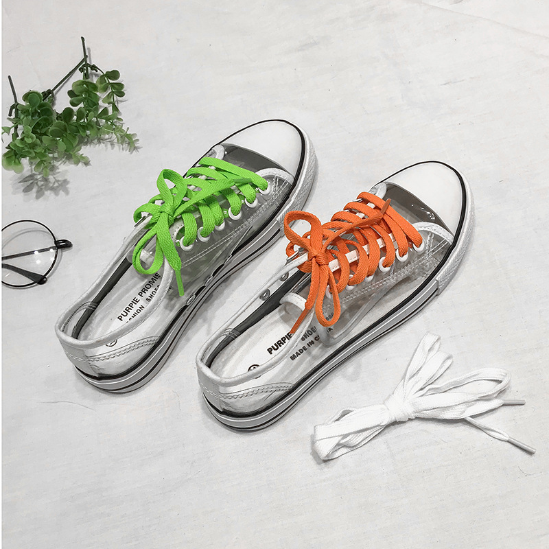 Colorful Laces Low-top Lace-up Transparent  Women  Shoes Sneakers Fashion Casual Ladies Shoes  Zapatos De Mujer B-37