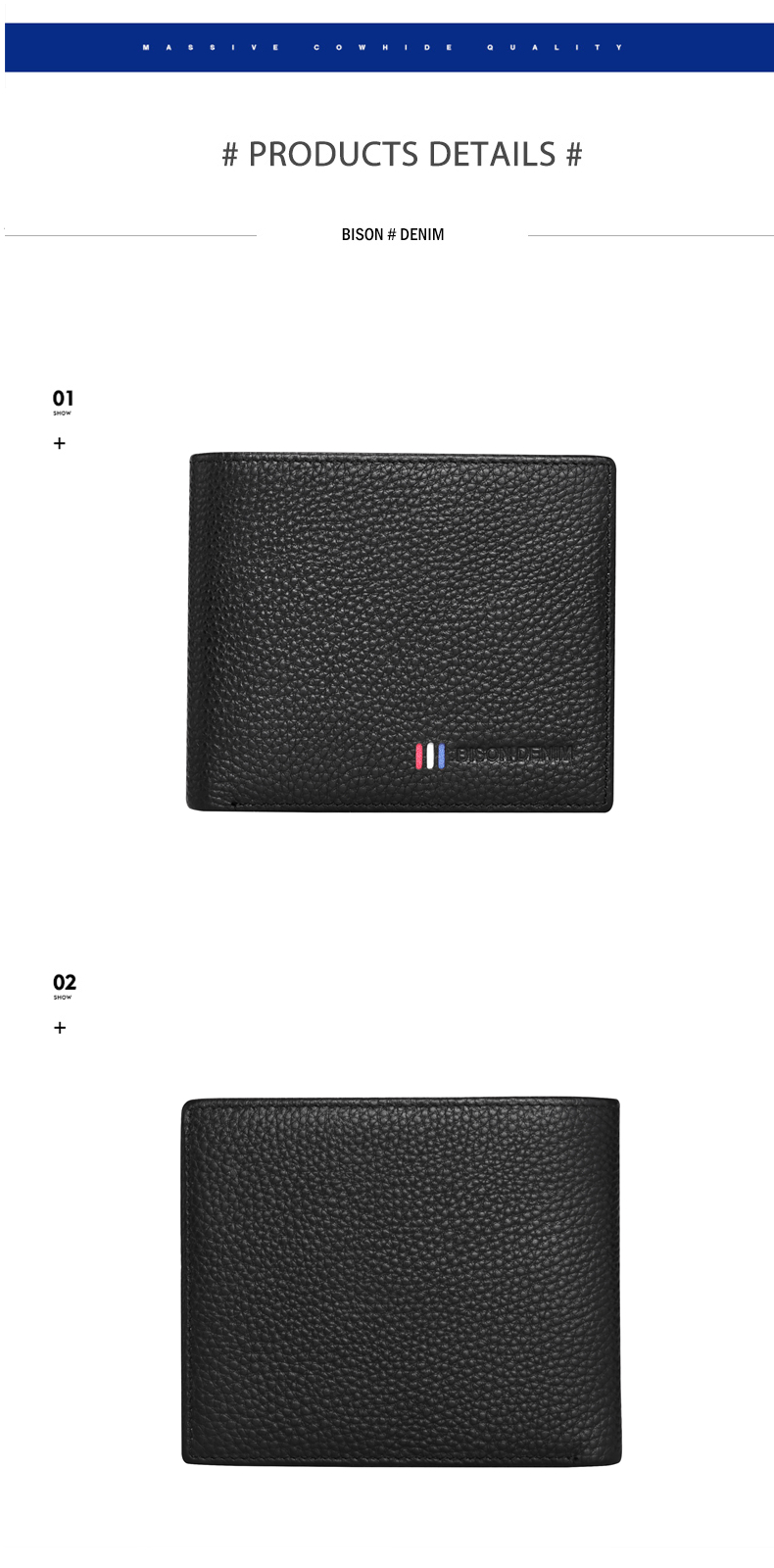 H8d0237c6cfb24e199a1b1aad517885909 - BISON DENIM 100% Cow Leather Wallet Men Fashion Bifold Card Holder Wallet RFID Blocking Male Short Purse High Quality N4475