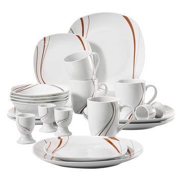 VEWEET BONNIE 20 szt kości słoniowej biały zastawa stołowa porcelany sztućce obiadowy zestaw z 4 * kieliszek do jajka kubek talerzyk deserowy miska talerz obiadowy tanie i dobre opinie MALACASA CN (pochodzenie) Taśmy ROUND ceramic BONNIE03