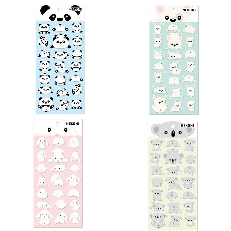 Cute Panda Dog Koala Rabbit Bullet Journal Stickers Diary Sticker Scrapbook Decoration PVC Stationery Stickers