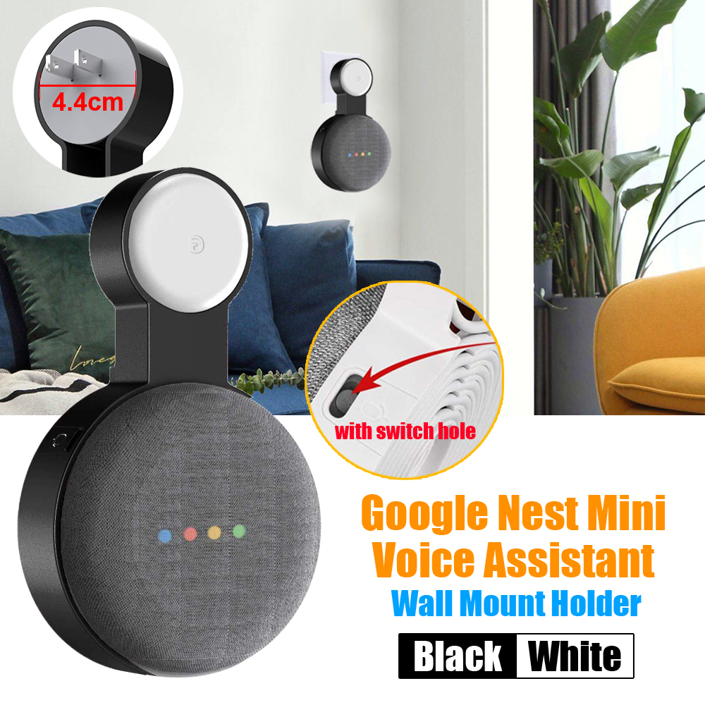 Google Nest Mini 2nd Wall Mount Holder with Switch Hole for Google Voice Assistant Indoor Sound Box Holder EU&US plug