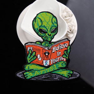 DIY Alien Patch Iron On Patches On Clothes Embroidered Patches For Clothing UFO Patch Sewing On Garment Apparel Accessories