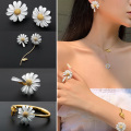Корейский Стиль красивое платье маленькой Дейзи цветок, серьги со шпилькой, для женщин, для девочек Милая заявление ассиметричное вечерние ...