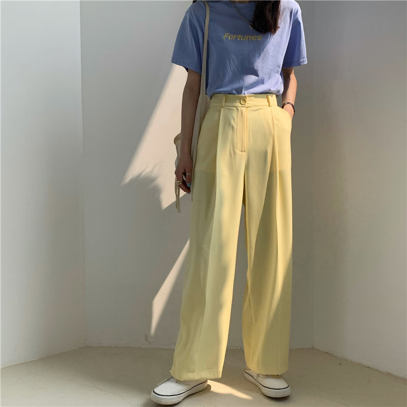 HziriP 2020 Leisure Women Slender All Match Fashion Casual Plus High Waist Wide Leg Loose Pants Thin Brief Straight Trousers