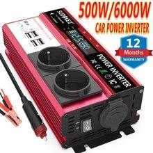 6000w picos de potência inversor 500w dc 12v 24v para ac 120v 220v carro rv barco potência de soldagem inversor lcd display usb (1 ano de garantia)