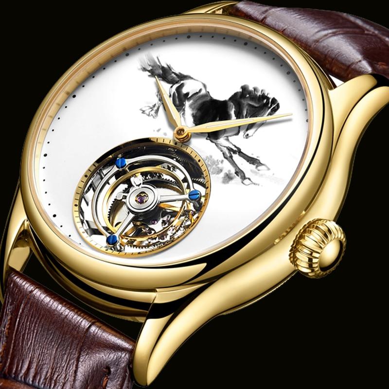 2019 New 100% Tourbillon Mechanical Watch Men Hollow Mechanical Watch Male Luxury Watches Man Golden Waterproof Clock Leather