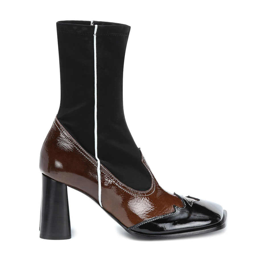 Prova Perfetto moda slim fit elastik çorap kadın karışık renk inek deri kare ayak yüksek topuk sonbahar ayakkabı botları kadın