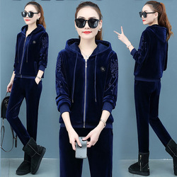 Gold velvet suit winter new embroidered sportswear fashion leisure woman velvet thickened Long Sleeve Hoodie two sets women