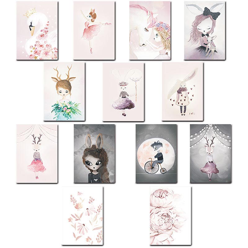 New Nordic Decoration Cartoon characters Wall Art Canvas Poster  Painting Decorative Picture Home Decor Cratfs