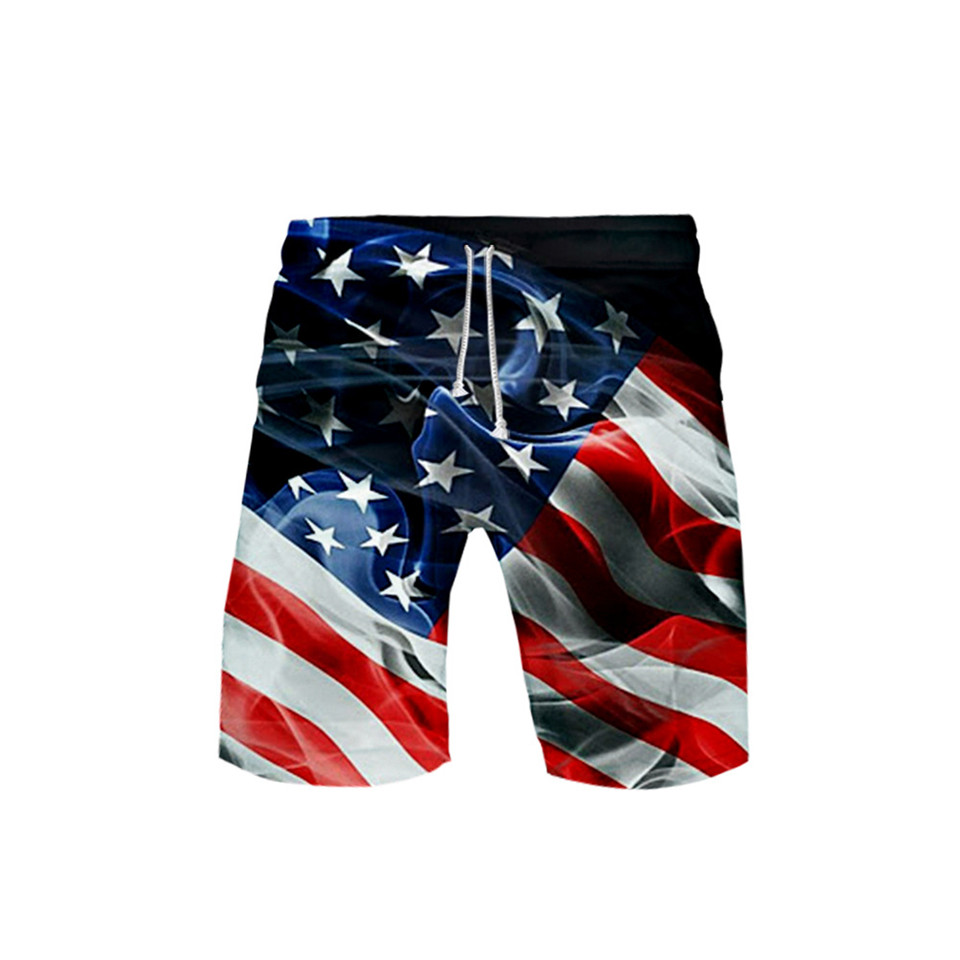 Creative Skull Eagle USA Flag 3D Board Shorts Trunks Summer Quick Dry Beach Swiming Shorts Men Casual Short Pants Beach clothes image