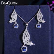 BeaQueen Fashion Butterfly Shape CZ Crystal Micro Paved Cubic Zirconia Blue Stone Earrings and Necklace Women Jewelry Sets JS018 beaqueen twinkling cubic zirconia stone lovely star earrings necklace cz crystal starfish women fashion party jewelry sets js119