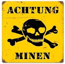 Achtung Minen Metall Zeichen Military 12