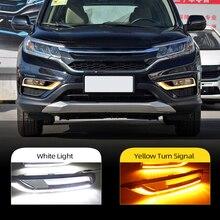 Carro piscando 1 par para honda crv CR V 2015 2016 led carro drl luz de circulação diurna amortecedor da frente nevoeiro sinal volta amarelo