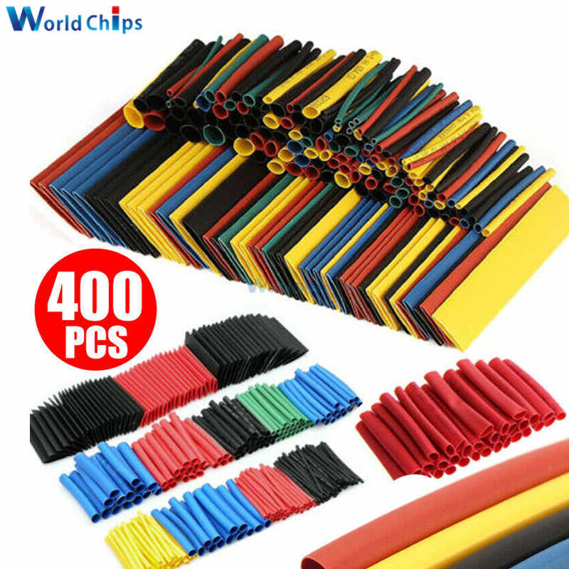400 pièces polyoléfine thermorétractable Tube mixte couleur 8 tailles 1-14mm 2:1 thermorétractable Tube fil câble manchons envelopper fil assortiment ensemble