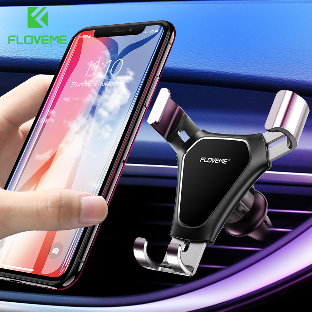 FLOVEME Universal Car Phone Holder For Phone In Car Air Vent Mount Stand Mobile Holder For IPhone 7 X Xiaomi Smartphone Gravity