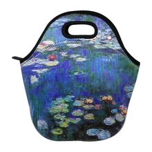 Floral Printed Lunch Bag Diving Neoprene Meal Container Handbag Home Insulated Tote