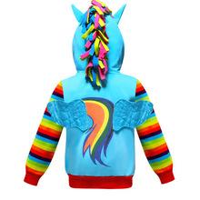 Kurtka dla dziewczynek jednorożec Rainbow Dash bluza z kapturem dla dzieci bluzy z długim rękawem kurtka dziewczyny kucyk kurtka dla niemowląt chłopcy zmierzch płaszcz maluch tanie tanio Na co dzień COTTON Poliester girl pony coat Pasuje prawda na wymiar weź swój normalny rozmiar Heavyweight Pełna Kurtki płaszcze
