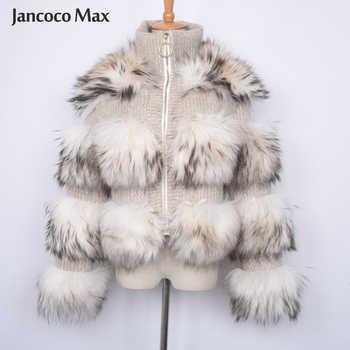 Jancoco Max Real Raccoon Fur Jackets Female Fashion Natural Fur Coats Long Sleeve Winter Women Overcoat S7458